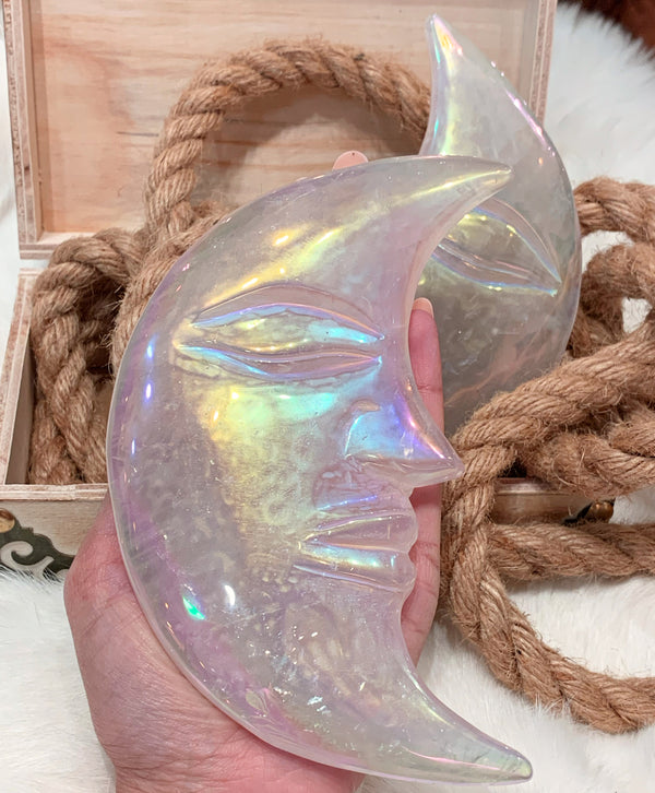 Angel Aura Rose Quartz Crescent Moon