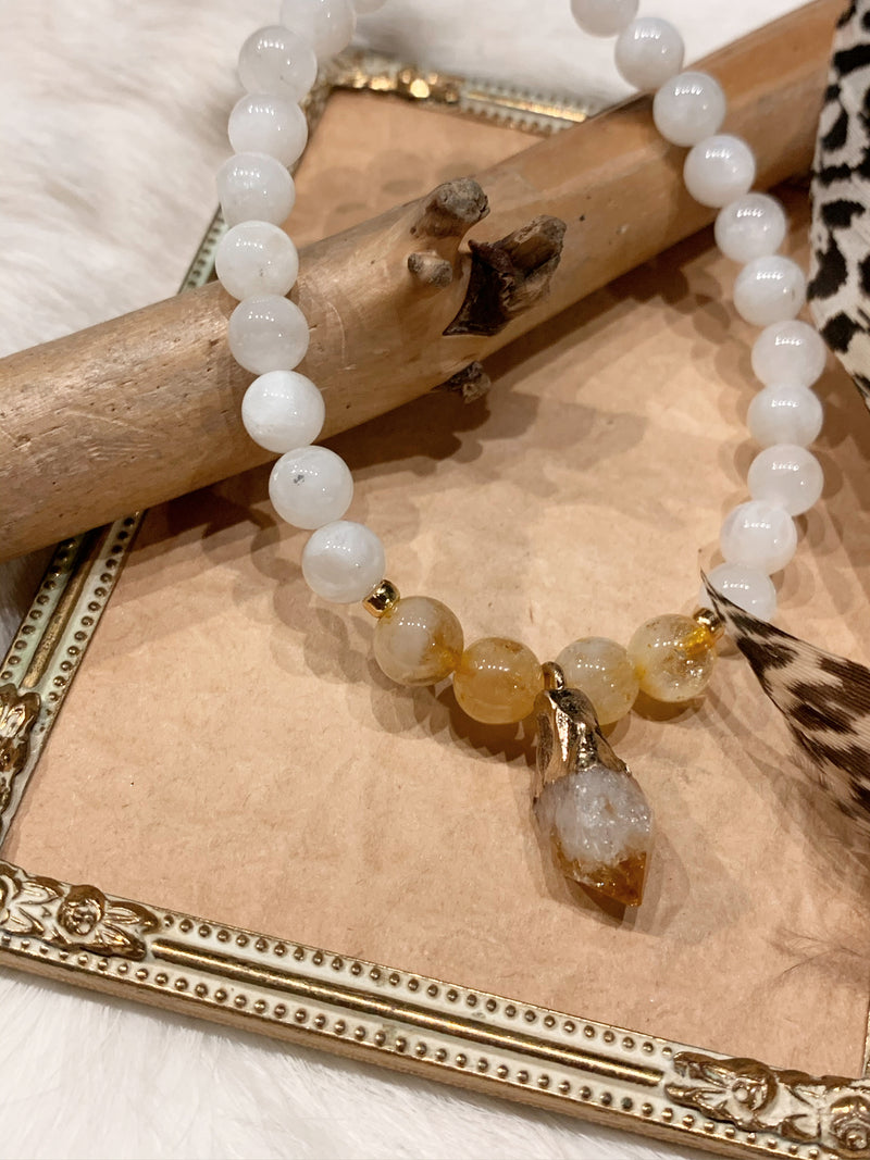 Moonstone and Citrine Bracelet with Rough Citrine Charm