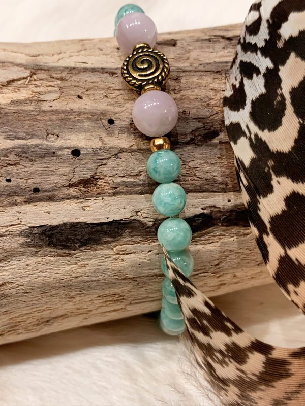 Amazonite and Kunzite Bracelet