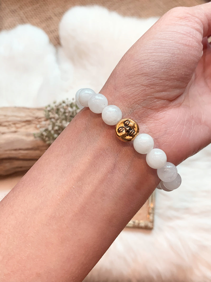 Moonstone Bracelet with Moon Face Charm