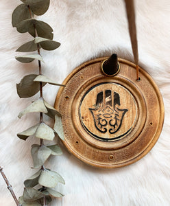 Hamsa Wood Incense Holder