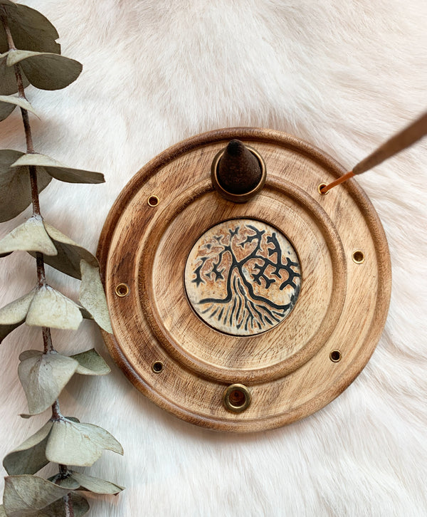 Tree Of Life Wood Incense Holder