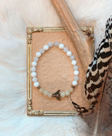 Dyed Yellow Jade, Moonstone, & Mother Of Pearl Bracelet