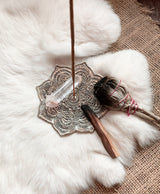 Lotus White Metal Incense Holder