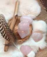 Rose Quartz Heart-Shapes Palm Stone