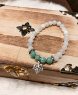 Amazonite and Moonstone Leaf Bracelet