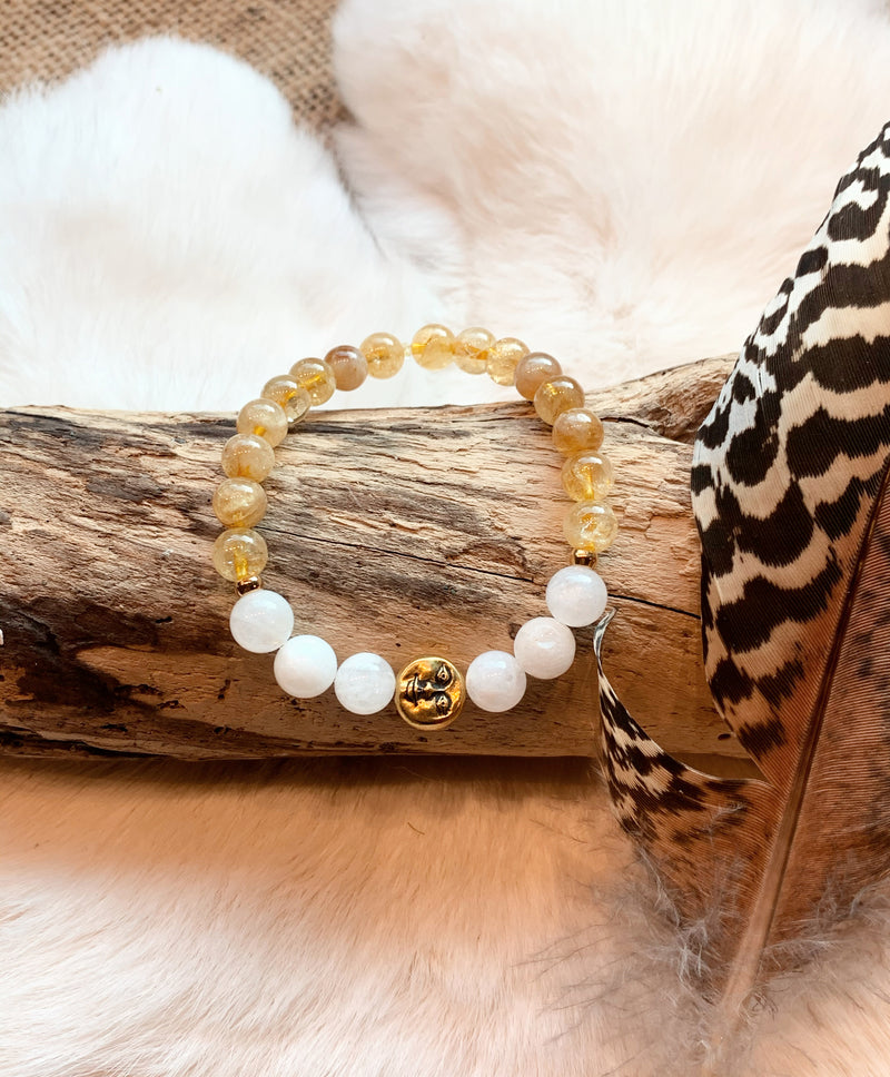Citrine & Moonstone Moon Face Bracelet