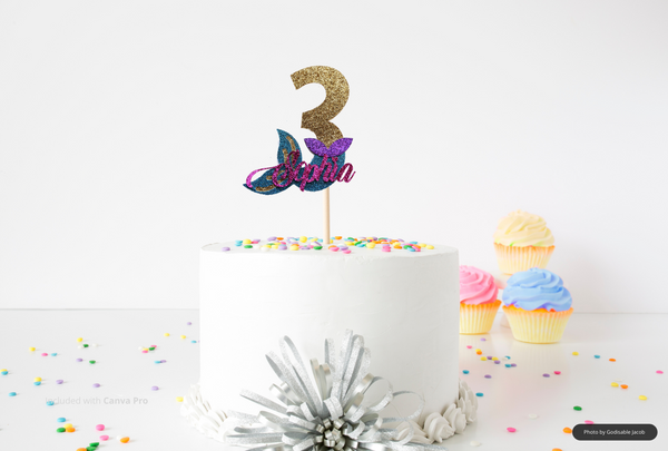 Awesome Personalized Mermaid Cake Topper Mermaid Tail Cake Topper Under Funny Birthday Cards Online Eattedamsfinfo