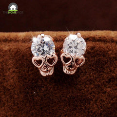 Awesome Skulls Heart Eyes Earrings