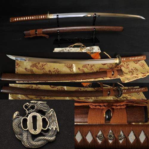 1095 Steel Double Groove Dragon&Snake Tsuba Japanese Sword KATANA - Handmade Katanas Samurai Swords For sale