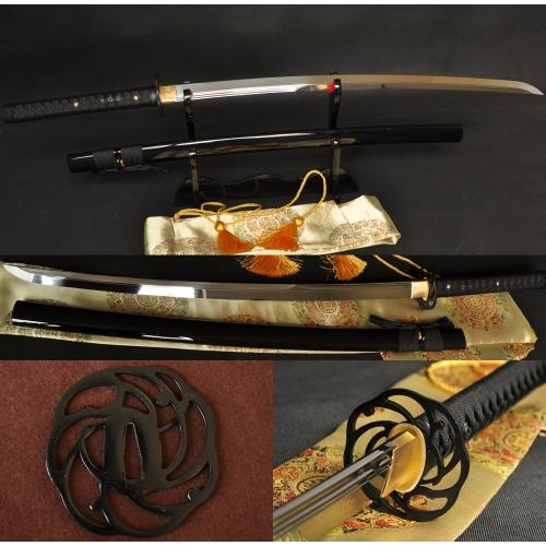 1095 Carbon Steel Iron Tsuba Double Blood Grooves Japanese Samurai Swords - Handmade Katanas Samurai Swords For sale