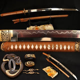 "41"" Tempered Handmade Methods Python Tsuba Hualee Saya Katana Sword - Handmade Katanas Samurai Swords For sale"