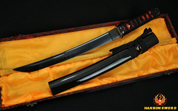 Full Black Blade Japanese Samurai Sword Tanto Short Edge - Handmade Katanas Samurai Swords For sale