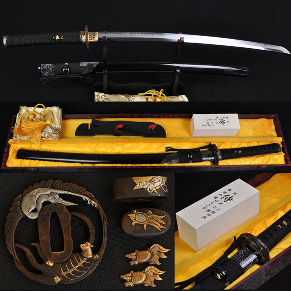Japanese Classical Samurai Sword Katana Clay Tempered - Handmade Katanas Samurai Swords For sale