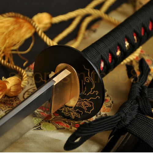 Authentic  Japanese Samurai Sword Katana Clay Tempered Folded Steel - Handmade Katanas Samurai Swords For sale