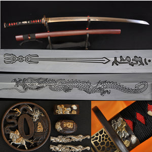 Japanese Samurai Katana Dragon Sword Clay Tempered Engraved Blade - Handmade Swords Expert