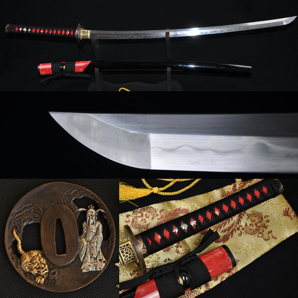 Clay Tempered Folded Steel Blade Ray Skin Saya Japanese Samurai Sword Katana - Handmade Katanas Samurai Swords For sale