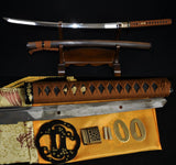 "41"" JAPANESE SAMURAI KATANA FUNCTIONAL SWORD Clay Tempered UNOKUBI-ZUKURI BLADE"