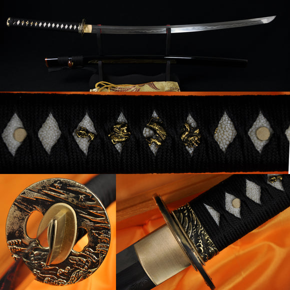 Clay Tempered Folded Steel Blade Japanese Samurai Katana Functional Sword - Handmade Katanas Samurai Swords For sale