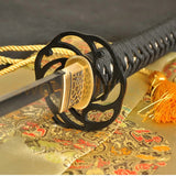 Clay Tempered Folded Steel Full Tang Blade Japanese Sword