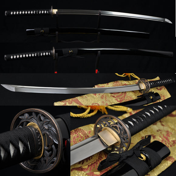Handmade Japanese Samurai Functional Sword Katana Real Folded Steel Blade - Handmade Swords Expert