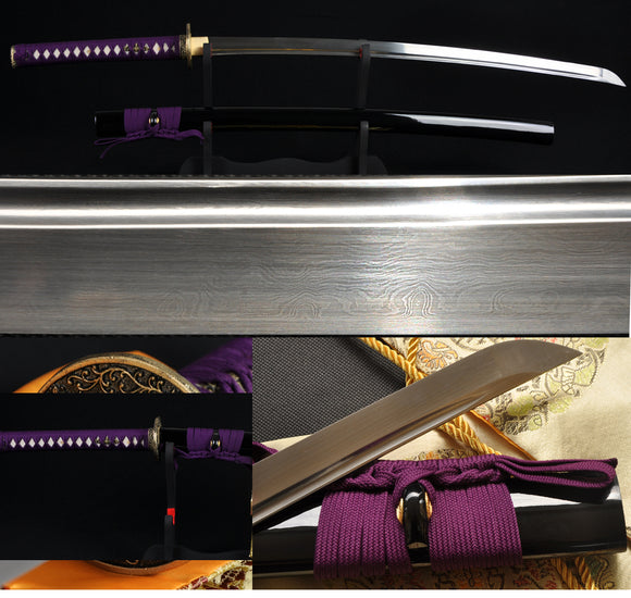 Handmade Japanese Samurai Functional Sword Katana Folded Steel Blade Can Cut Tree - Handmade Katanas Samurai Swords For sale