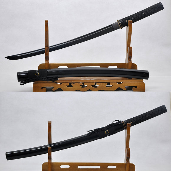 Balck Blade Handmade Japanese Samurai Wakizashi Swords Full Tang - Handmade Katanas Samurai Swords For sale
