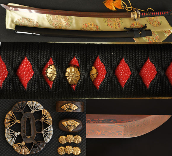 Black Red Folded Steel True Japanese Samurai Katana Sword
