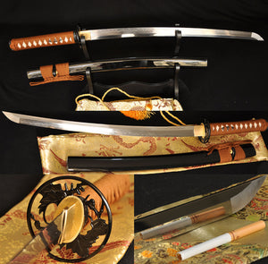 Clay Tempered Full Tang Blade Japanese Samurai Sword Wakizashi - Handmade Katanas Samurai Swords For sale