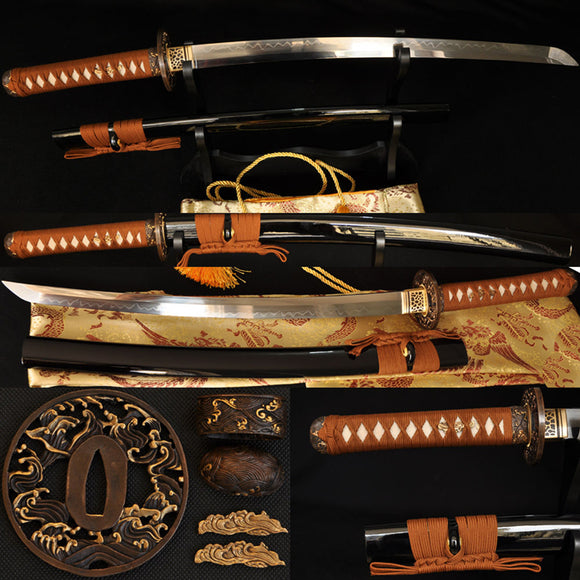 Clay Tempered Full Tang Blade Japanese Samurai Wakizashi Sword - Handmade Katanas Samurai Swords For sale