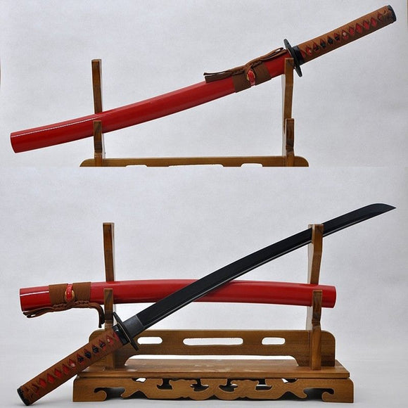 Japanese Samurai Wakizashi Sword Full Tang Balck Blade - Handmade Katanas Samurai Swords For sale