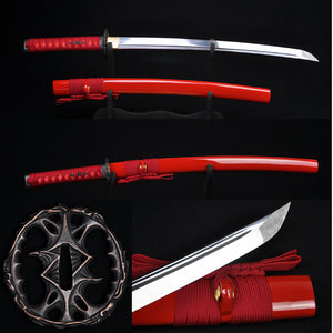 Hand Forged Japanese Samurai Wakizashil Sword Full Tang Blade Red Saya - Handmade Katanas Samurai Swords For sale