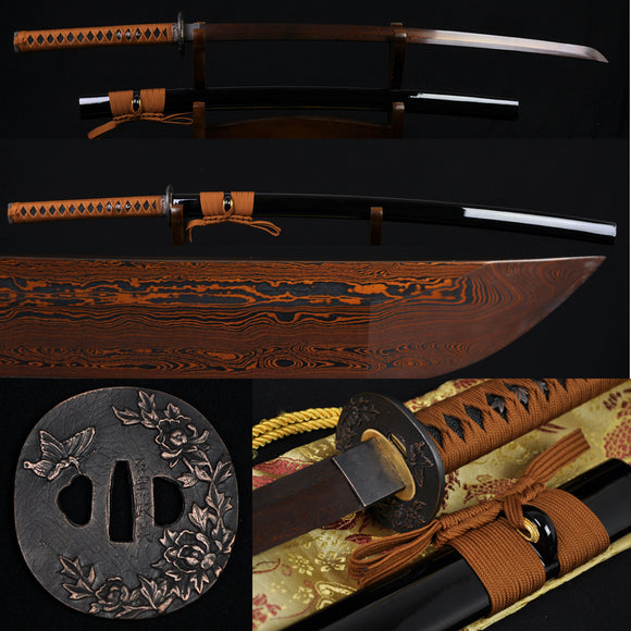 Folded Steel Full Tang Blade Japanese Samurai Katana Authentic Sword