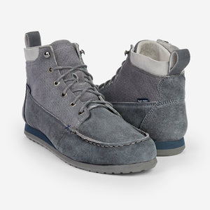 Hari Mari waxed suede canyontrek chukka in charcoal on white background