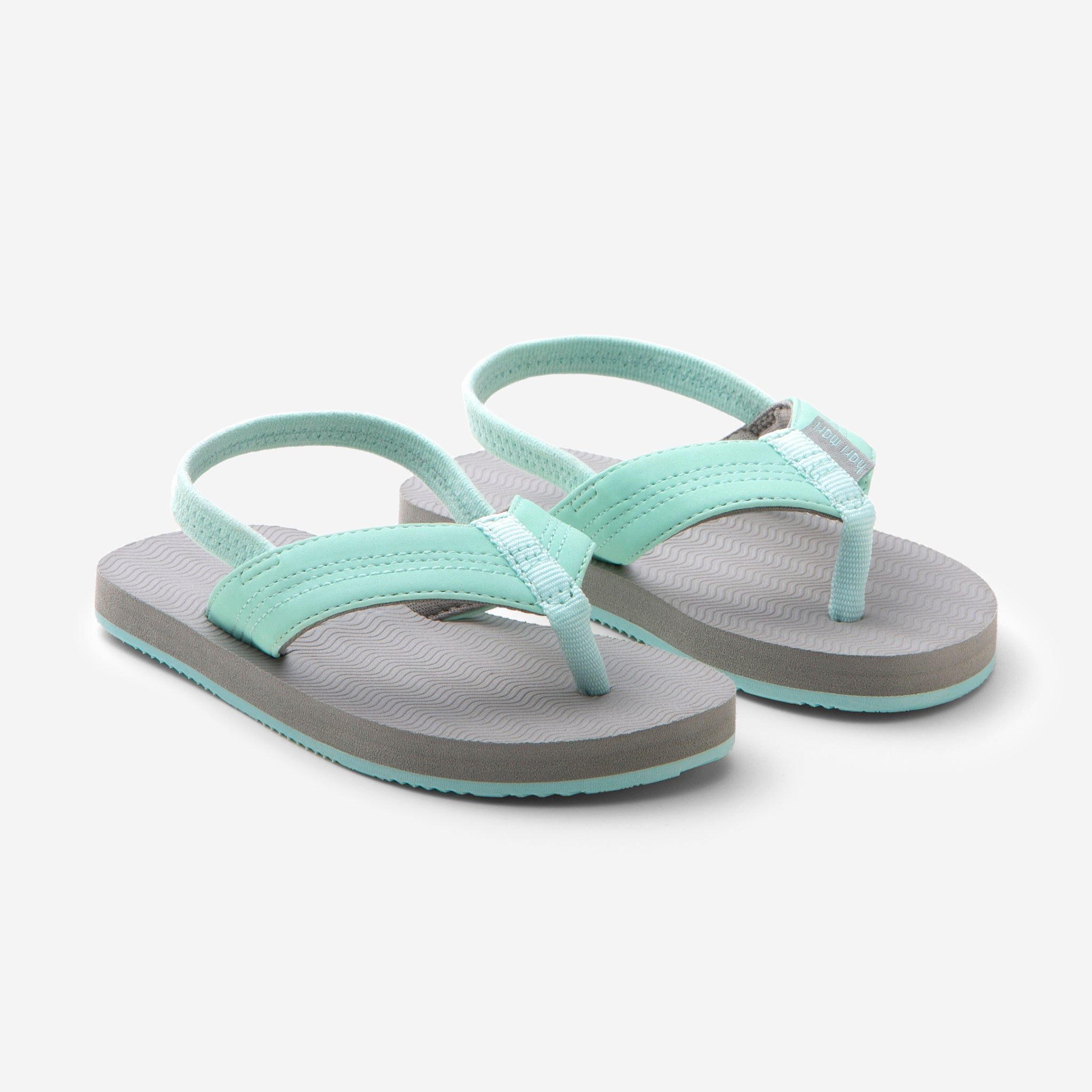 Hari Mari's Youth Brazos flip flops in aqua/grey on white background
