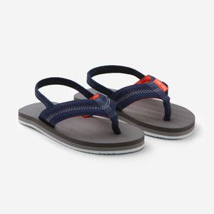 Hari Mari's Kids Brazos flip flops in navy/grey on white background
