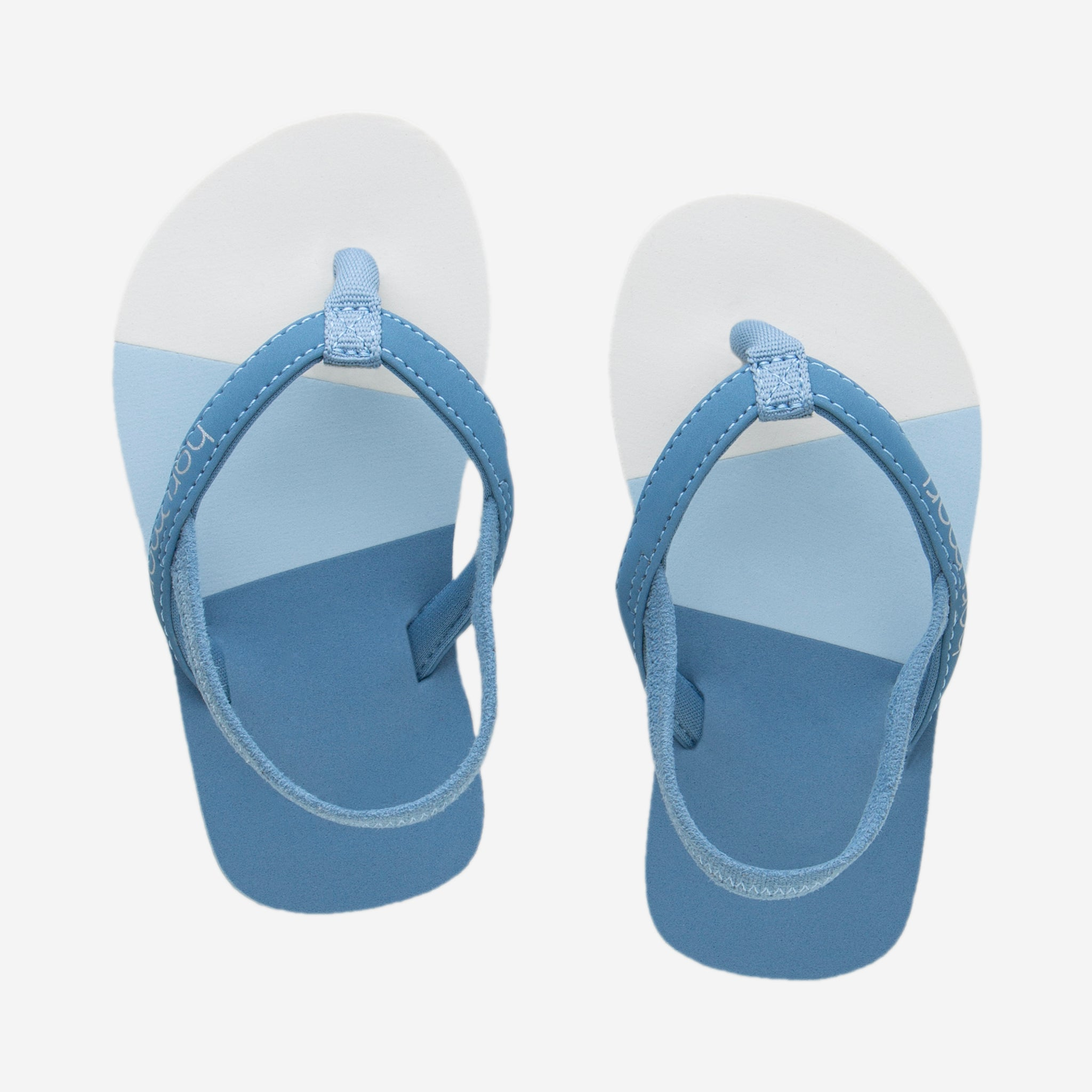Hari Mari meadows asana kids flip flops in dusty blue/multi colors on white background