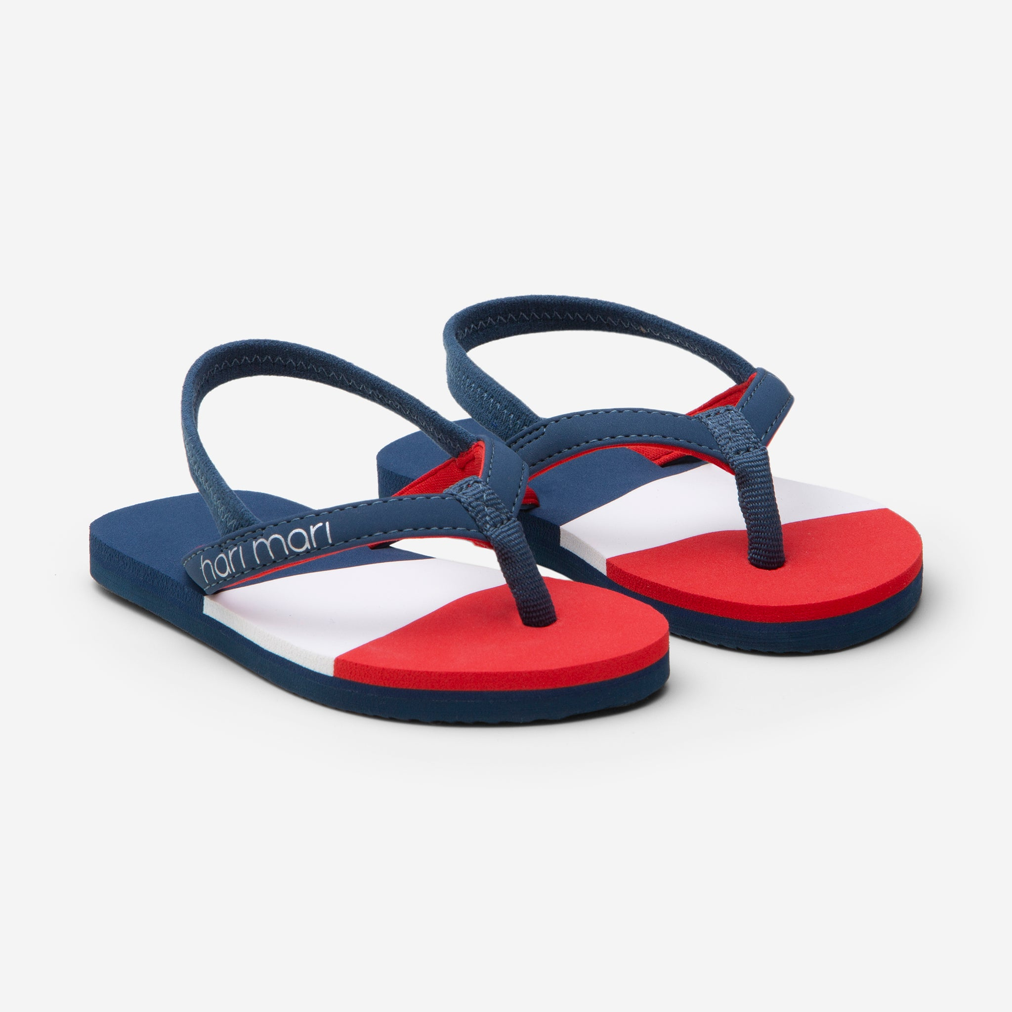 Hari Mari meadows asana kids flip flops in navy/red/lily on white background