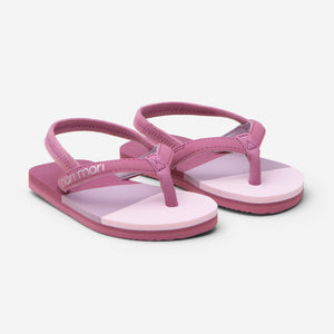 Hari Mari meadows asana kids flip flops in rose/multi color on white background