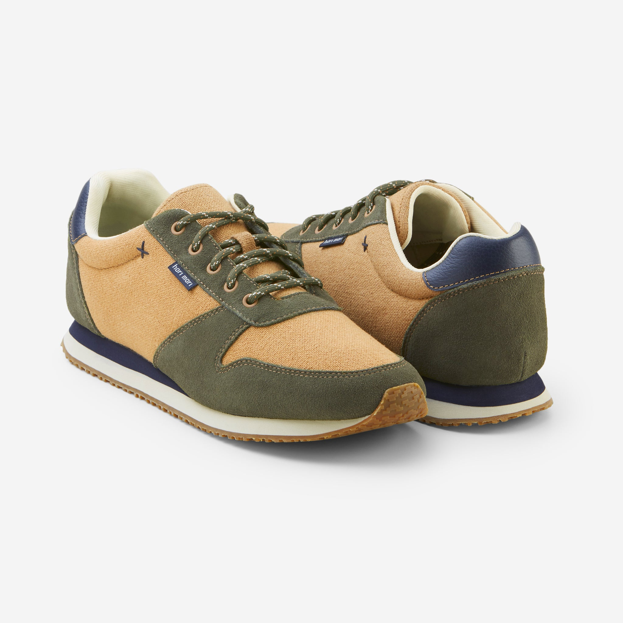 Dos Santos Retro Runner-Mens-Army-Front and Back View