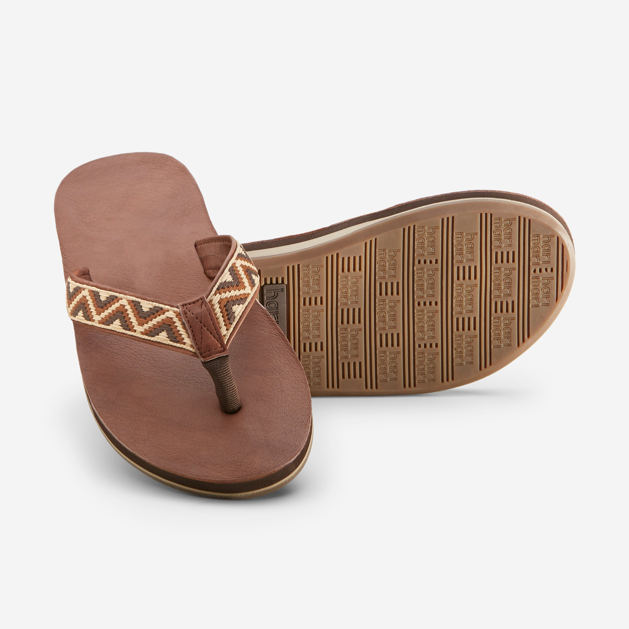 Hari Mari Men'a Fields Camino Flip Flops in chocolate/multi on white background showing flip flop and bottom of flip flop rubber outsole