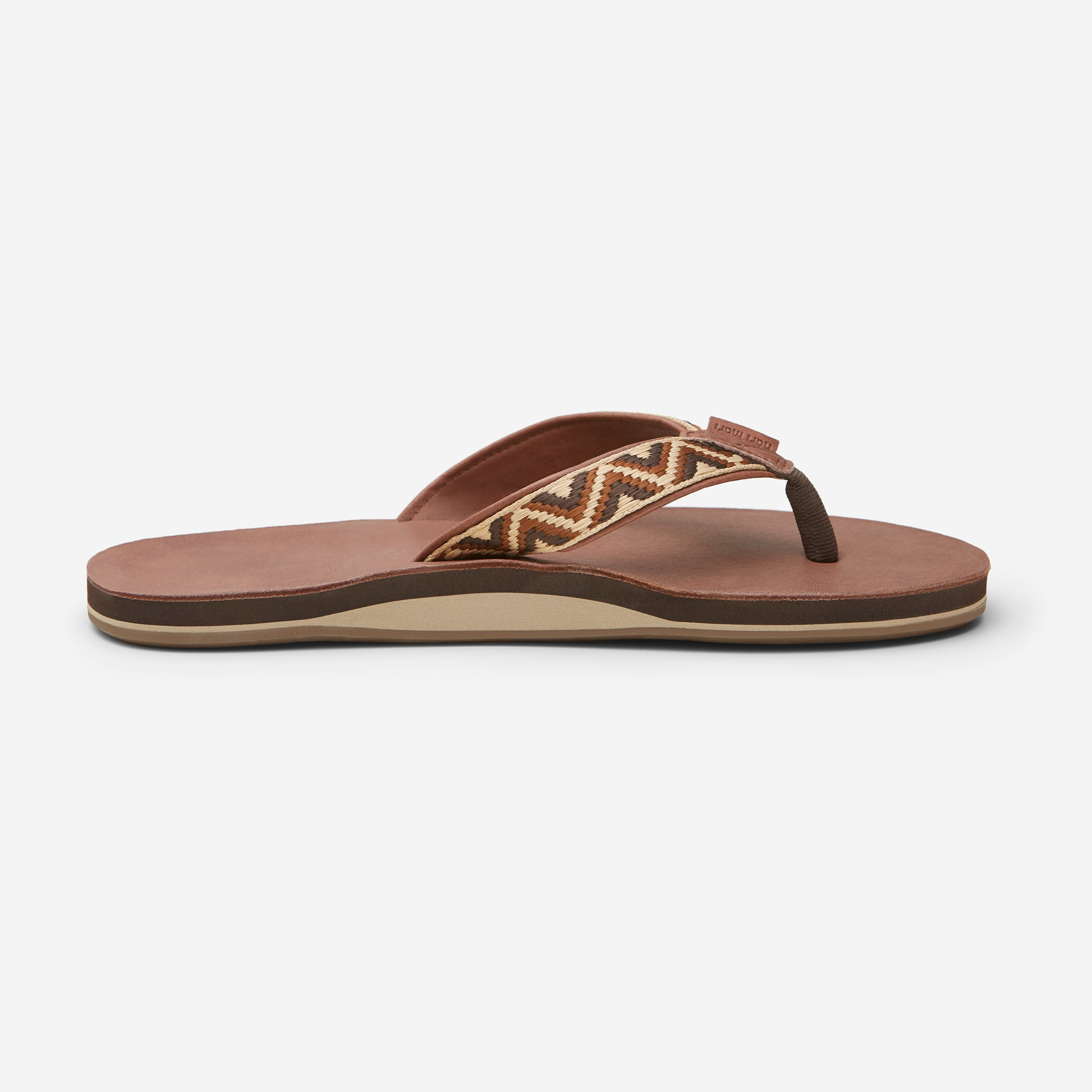 side profile of Hari Mari Men'a Fields Camino Flip Flops in chocolate/multi on white background