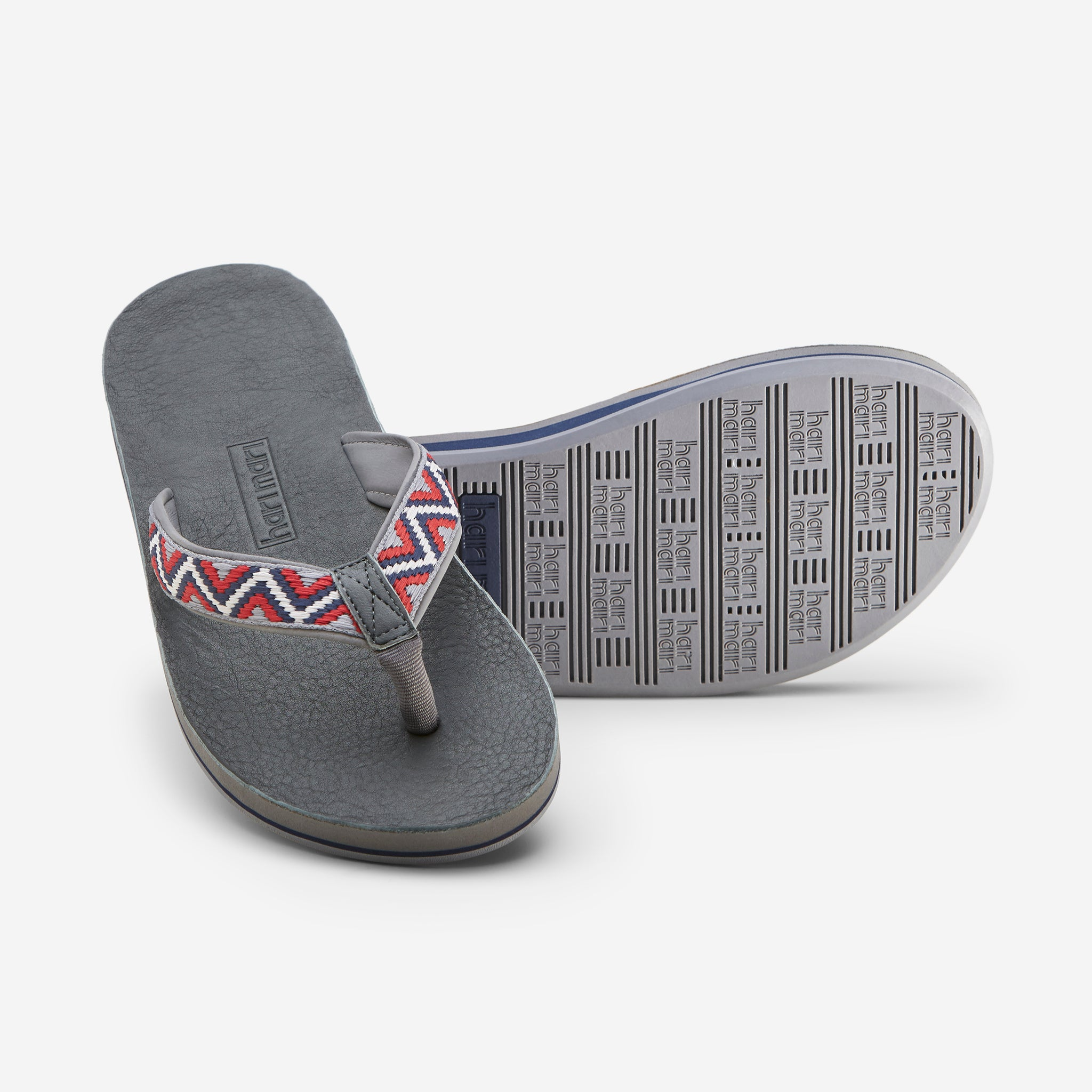 Hari Mari Men'a Fields Camino Flip Flops in slate/multi color on white background showing flip flop and bottom of flip flop rubber outsole