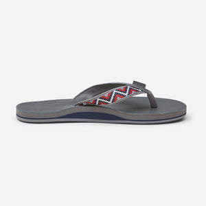 side profile of Hari Mari Men'a Fields Camino Flip Flops in slate/multi color on white background