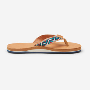 side profile of Hari Mari Men'a Fields Camino Flip Flops in wheat/multi on white background
