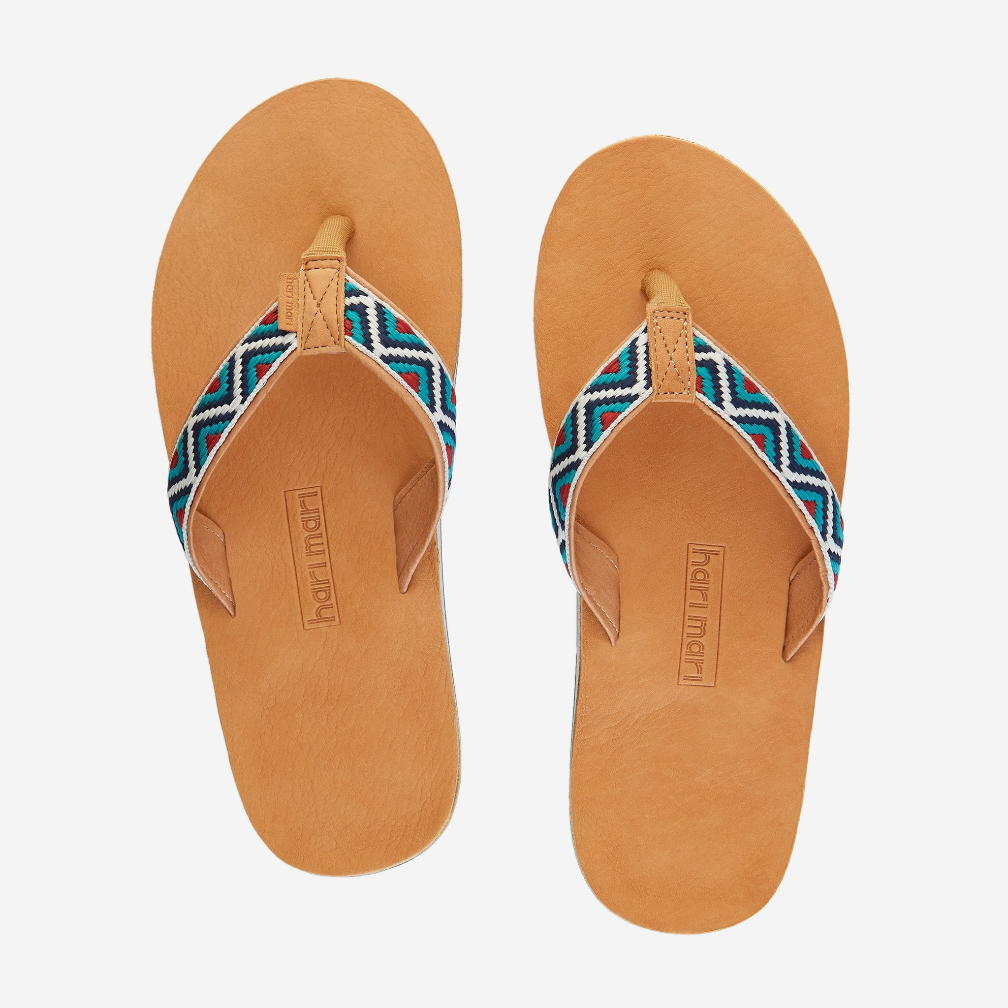 Hari Mari Men'a Fields Camino Flip Flops in wheat/multi on white background