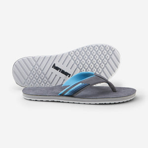 Hari Mari Men's Park Ranger Flip Flops in Charcoal on white background showing flip flop and bottom of flip flop rubber outsole
