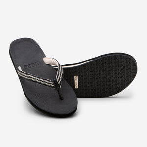 Hari Mari Women's Fields Flip Flop in Black showing flip flop and bottom of flip flop rubber outsole on white background