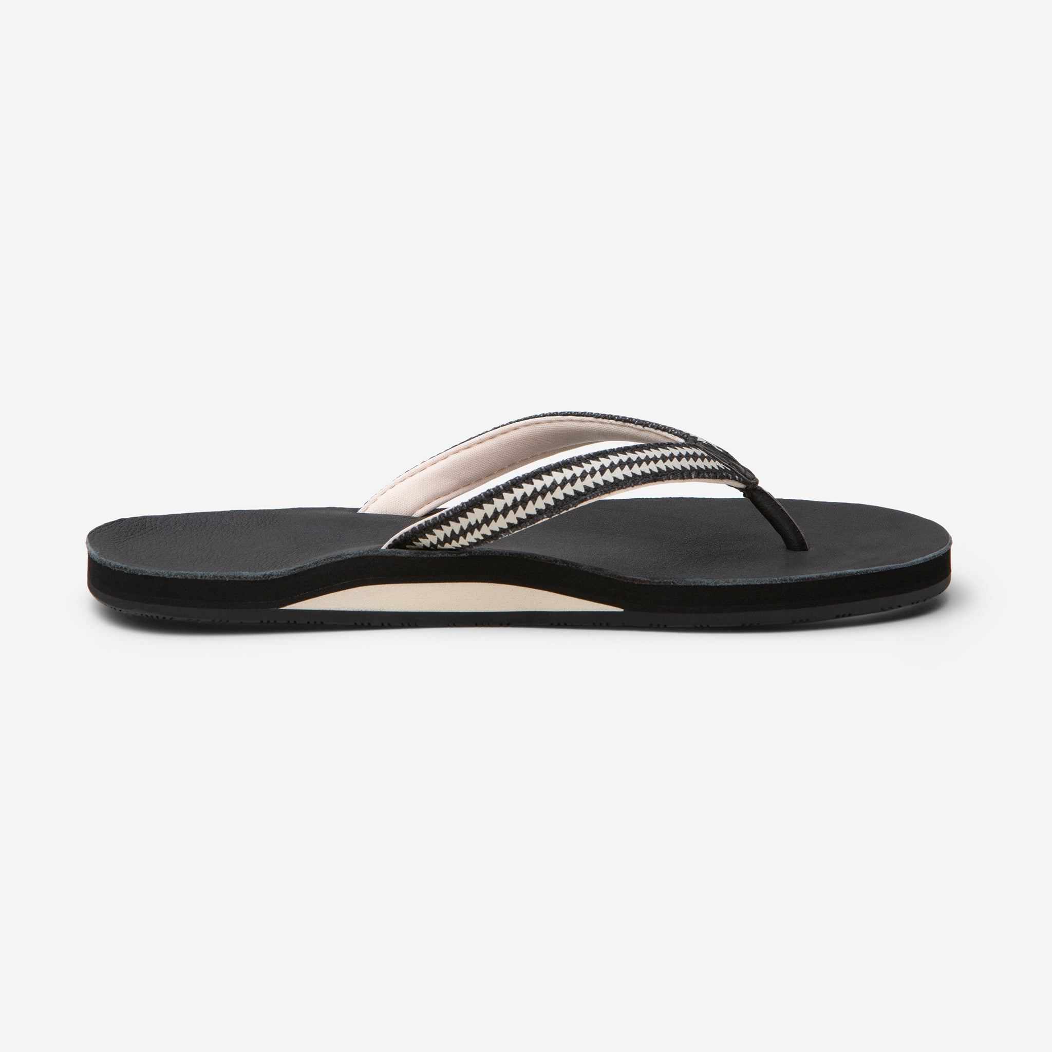 side profile of Hari Mari Women's Fields Flip Flop in Black  on white background