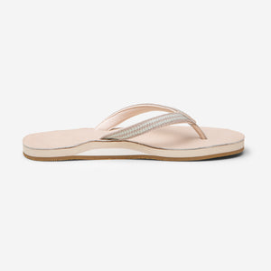 side profile of Hari Mari Women's Fields Puebla flip flops in sand on white background